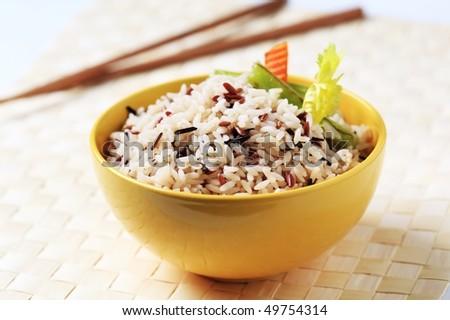 Bowl of mixed rice - stock photo