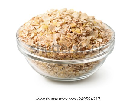 Bowl of  multi grain flakes isolated on white - stock photo