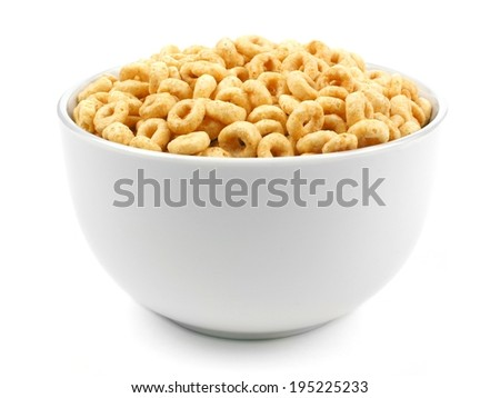 Bowl of oat cereal on a white background - stock photo