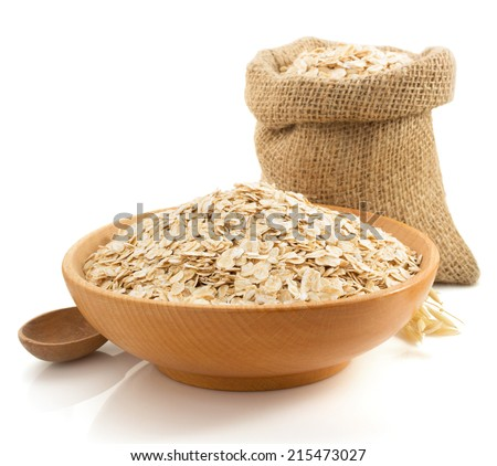 bowl of oat flake isolated on white background - stock photo