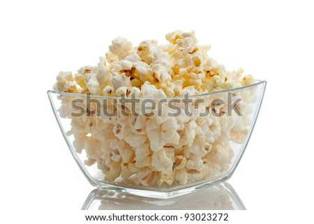 Bowl of popcorn, isolated - stock photo