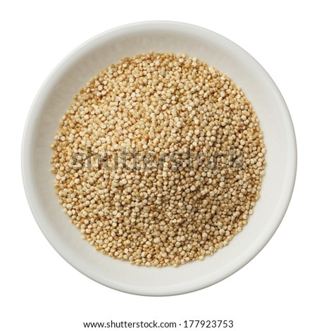 Bowl of quinoa grain isolated on a white background - stock photo