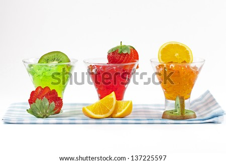 Bowl of red jello on blue cloth. - stock photo