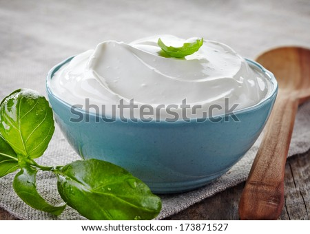 bowl of sour cream and basil leaf - stock photo