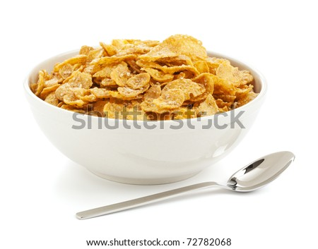 bowl of sugar-coated corn flakes and spoon isolated on white - stock photo