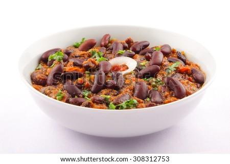 Bowl of tasty Rajma Masala with gravy, Indian cuisine. - stock photo