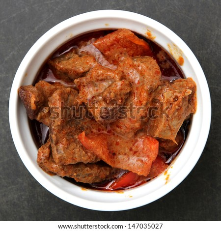 Bowl of Thai Red Curry - stock photo