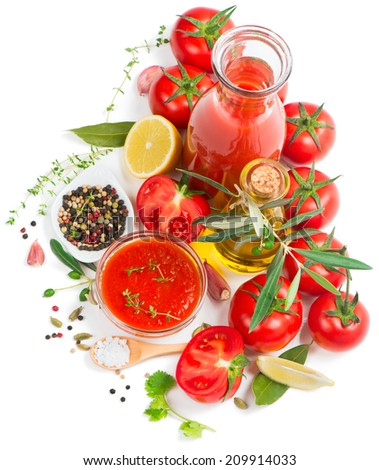 Bowl of tomato sauce with fresh ingredients isolated on white, top view  - stock photo
