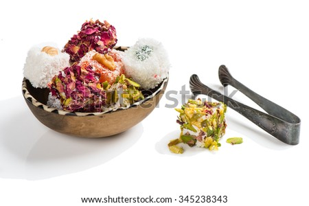 Bowl of Turkish Delight. Isolated on white background. - stock photo
