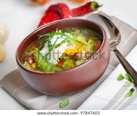 Bowl of vegetable Soup - stock photo