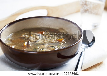 bowl of vegetarian mushroom and barley soup - stock photo