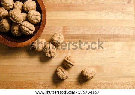 Bowl of walnuts - stock photo