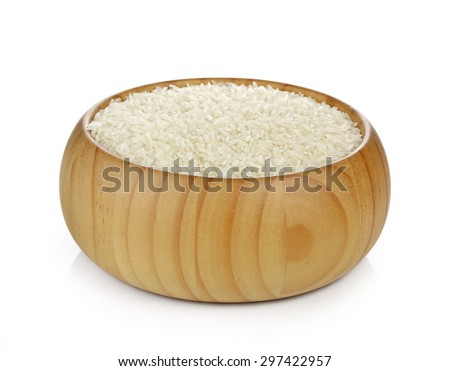 Bowl of White Rice. Isolated on a white background - stock photo