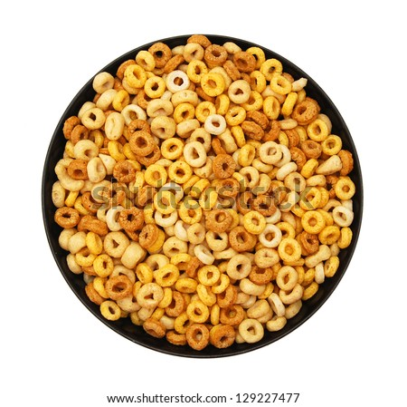 Bowl of Whole Grain Cheerios Cereal  on white - stock photo