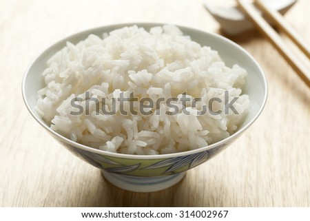 Bowl with cooked white Jasmine rice  - stock photo