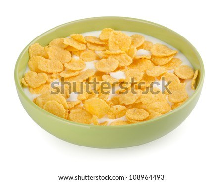 Bowl with corn flakes on a white background - stock photo