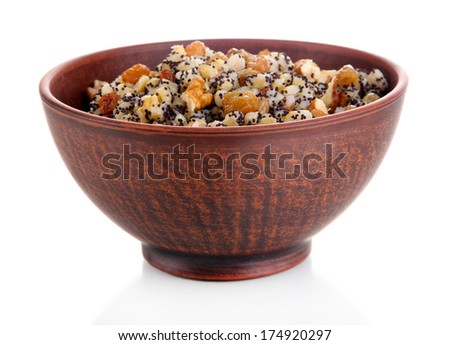 Bowl with kutia -  traditional Christmas sweet meal in Ukraine, Belarus and Poland, isolated on white - stock photo