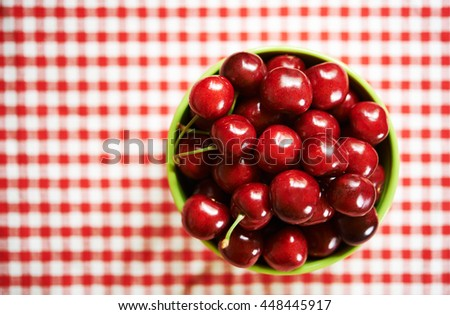 bowl with sweet cherry. top view - stock photo
