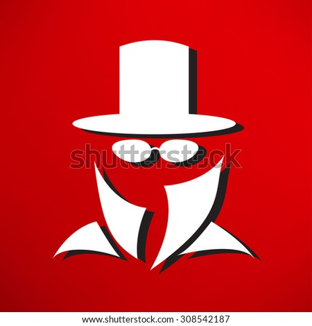 Bowler hat and moustache - stock photo