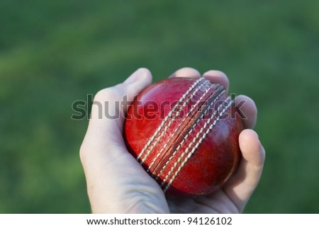 Bowler's hand holding a red cricket ball over green grass. - stock photo