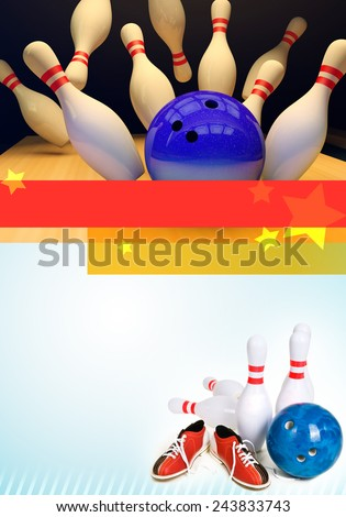 Bowling background for flyers A4 - stock photo