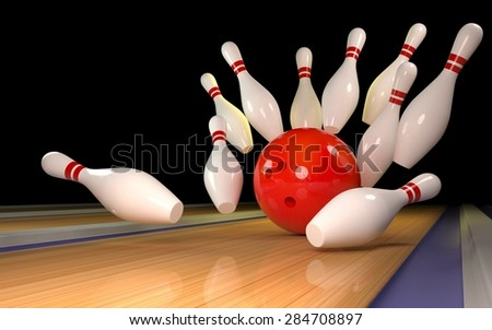 Bowling background with red ball 3D - stock photo