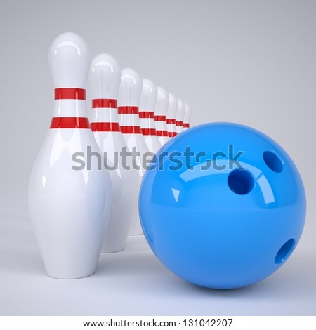 Bowling ball and pins. Render on a gray background - stock photo