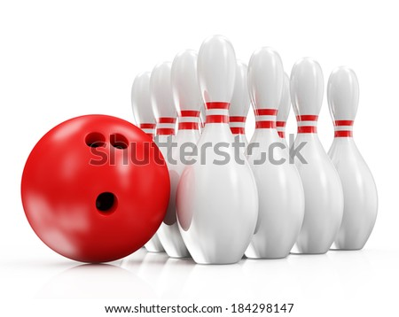 Bowling Ball and Skittles isolated on white background - stock photo