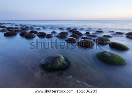 Bowling Ball Beach in twilight near Point Arena on the Mendocino coast, CA. - stock photo