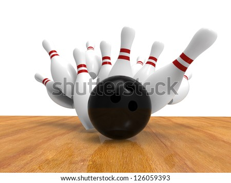 Bowling Ball Crashing Into the Pins - stock photo