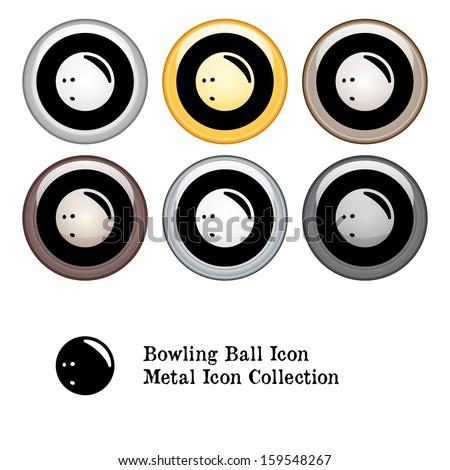 Bowling Ball Icon Metal Icon Set.  Raster version. - stock photo