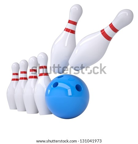 Bowling ball knocks down pins. Isolated render on a white background - stock photo