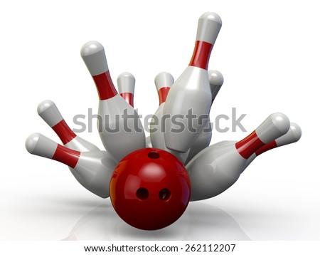 Bowling ball knocks down pins, strike - 3D - stock photo