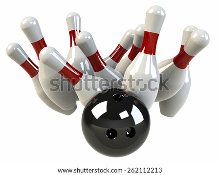 Bowling ball knocks down pins, strike, isolated on white - 3D - stock photo