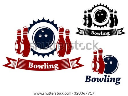 Bowling emblems and symbols set with ball and ninepins, suitable for sport and leisure design  - stock photo