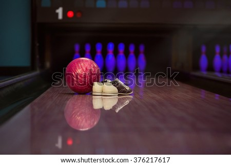 Bowling equipment. - stock photo