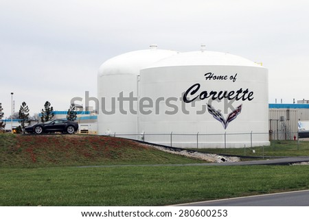 BOWLING GREEN, KY-MAY, 2015:  Home of the Chevrolet Corvette assembly plant in Bowling Green, KY.  There is a new Corvette to the left of the sign.   - stock photo