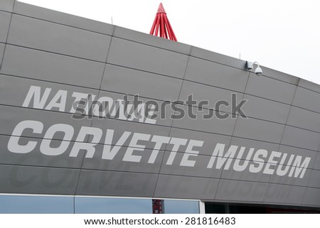 BOWLING GREEN, KY-MAY, 2015:  Sign for the National Corvette Museum which showcases the history of this iconic American car.   - stock photo