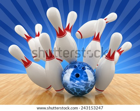 Bowling pin. 3D illustration. - stock photo