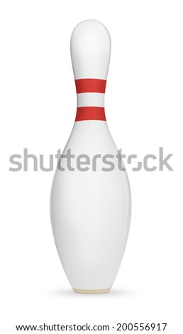 Bowling pin isolated on a white background with clipping path. - stock photo