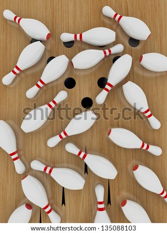 Bowling pin on hardwood floor, Lying down. - stock photo