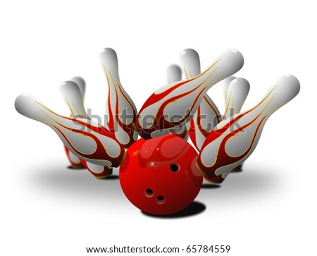 bowling pin strike over white - stock photo