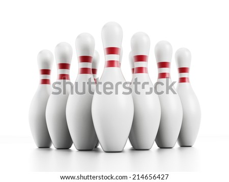 Bowling pins isolated on white background. - stock photo