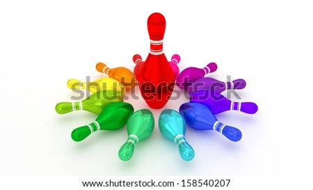 Bowling Pins Rotating at the Center on White Background - stock photo