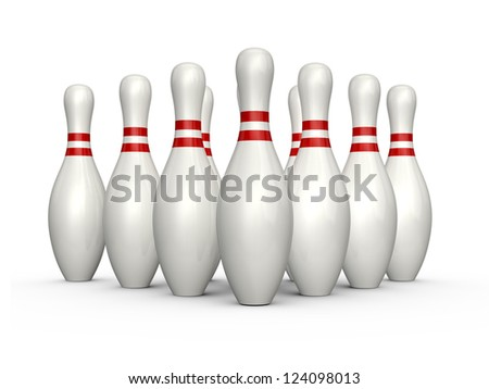 Bowling pins, skittles with red stripes standing, isolated on white background. - stock photo