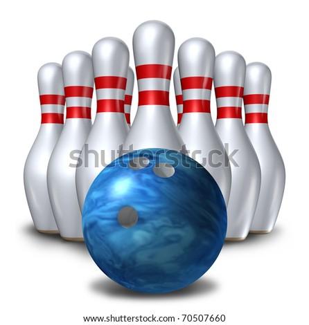 Bowling pins ten pin ball set bowl symbol isolated - stock photo