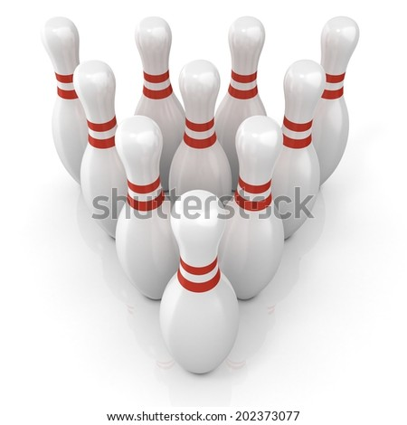 Bowling pins with red stripes, grouped and isolated on white - stock photo