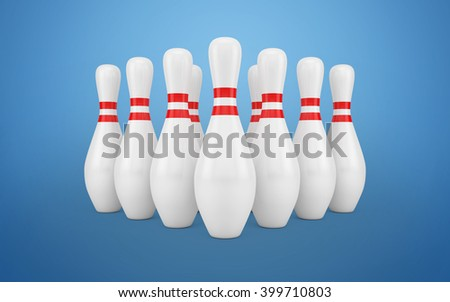 Bowling Skittles isolated with clipping path. 3d rendering - stock photo