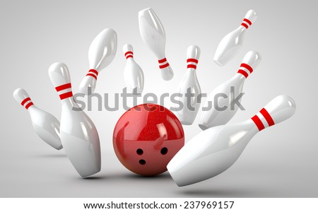 bowling strike 3D - stock photo