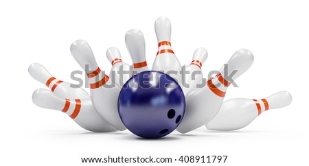 bowling strike 3D rendering, on a white background - stock photo